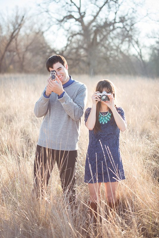 California Engagement Session with Antique Cameras