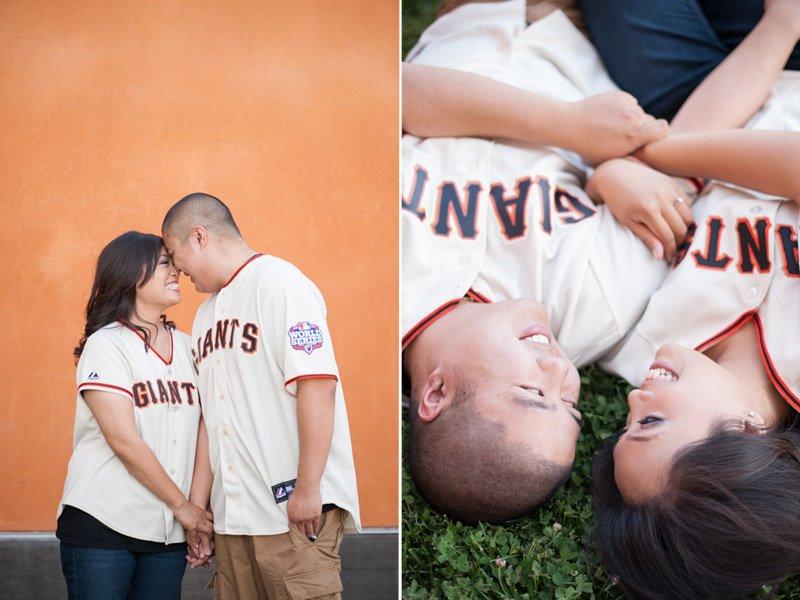 Engaged couple wearing wearing giants baseball uniforms
