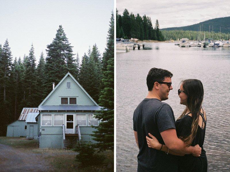 Couple looking at Lake Almanor, Ca at Knotty Pines Marina.