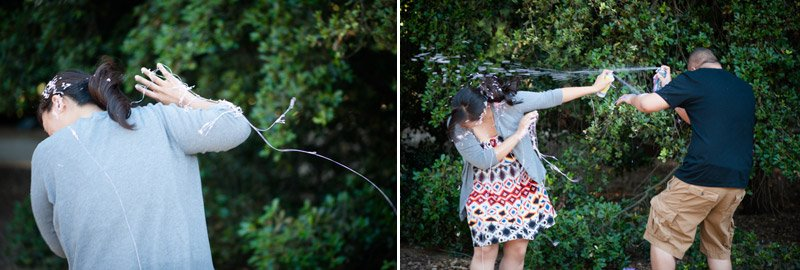 Silly string fight engagement session 2