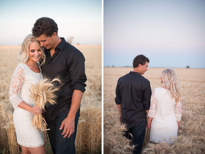 Engagement session in wheat field