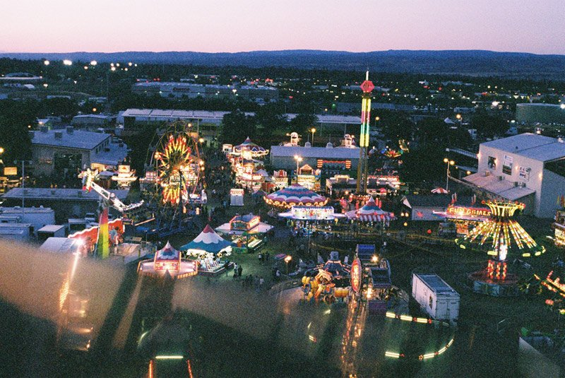 View of the Silver Dollar Fair Chico from atop the giant ferris wheel