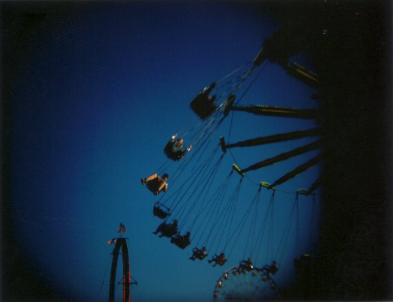 Swings at the silver dollar fair chico on holgaroid