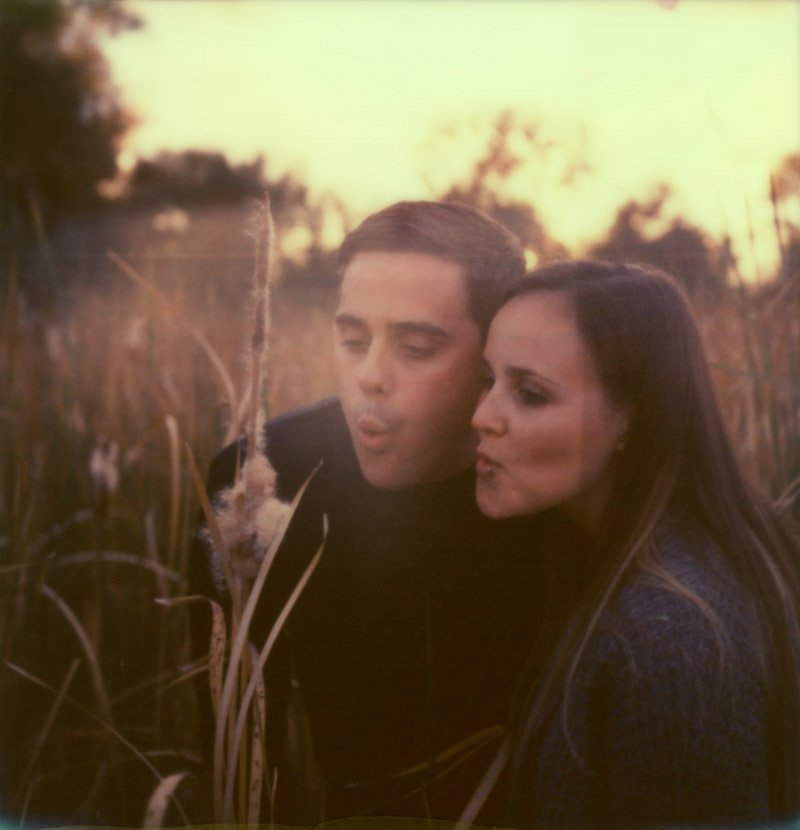 dreamy fall polaroid of couple