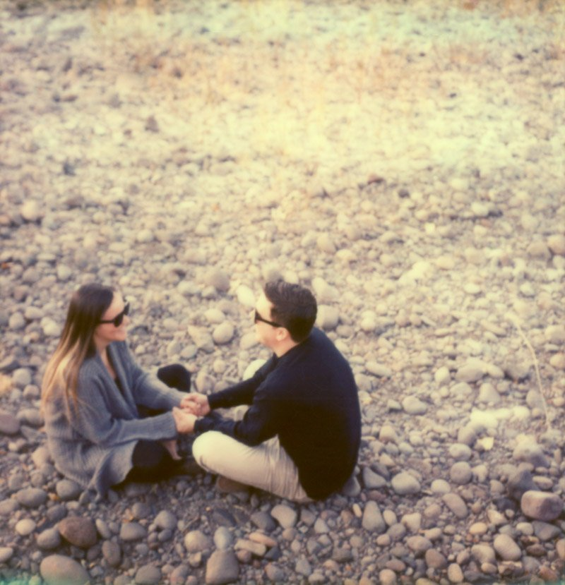 polaroid engagement session on impossible project film