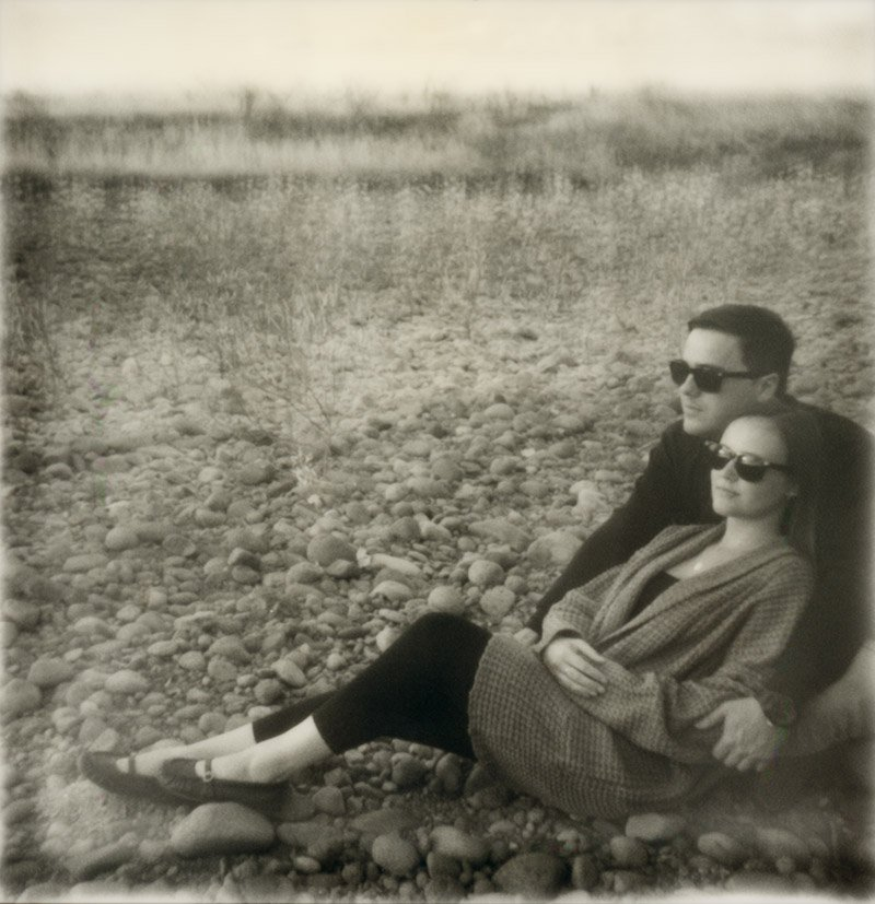 hipster polaroid engagement session