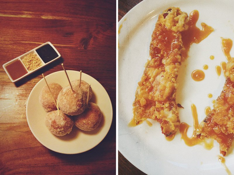chicken fried bacon from slappy cakes maui and malasadas from Star Noodle Maui