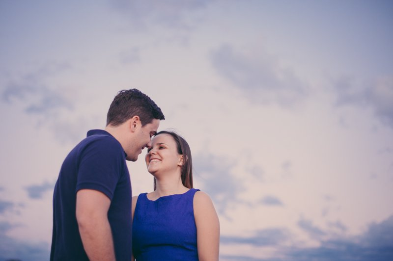 colorful engagement session at sunset