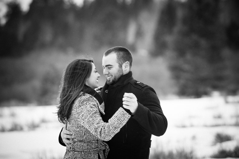 Romantic winter engagement photo