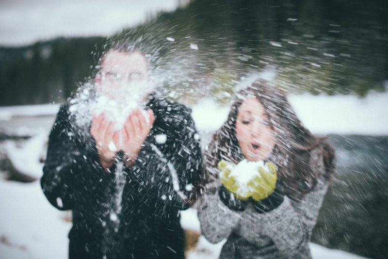 Fun Snow Engagement Portraits