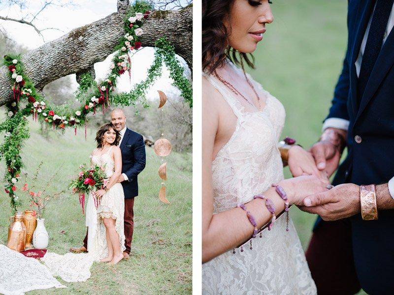 boho wedding with marsala