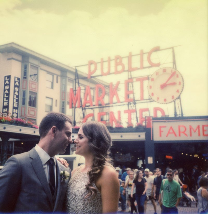 Polaroid of Bride and Groom at Pikes Place Market Seatlle