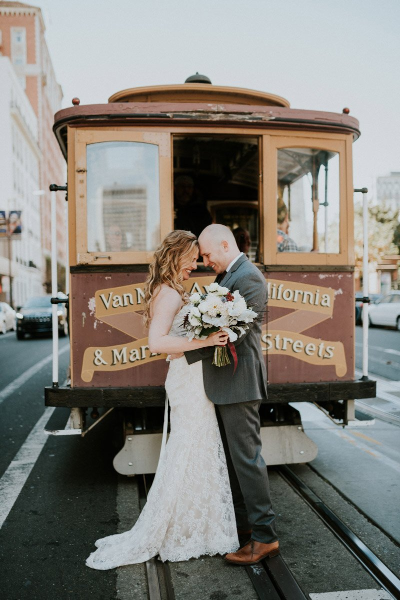 Bride + Groom with Cable Car in San Francisco