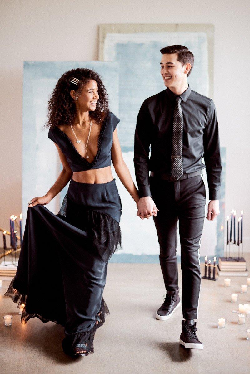 elopement inspiration | navy wedding dress | modern wedding