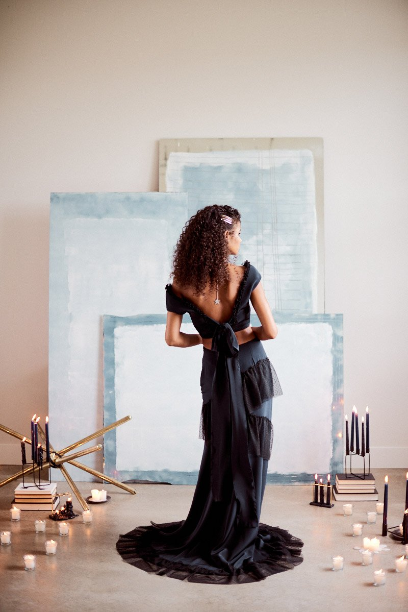 non traditional wedding dress | navy wedding dress | indie wedding designer