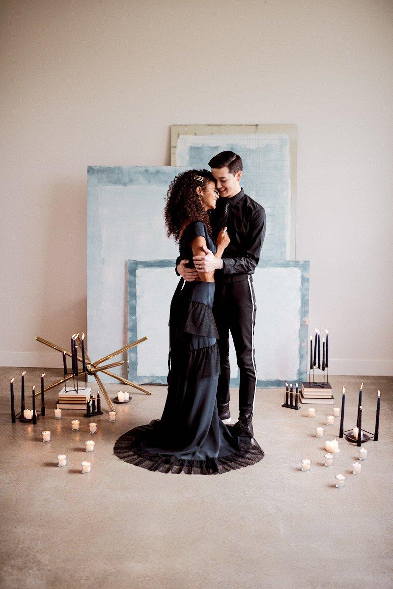 unique elopement ideas | navy wedding dress | modern wedding